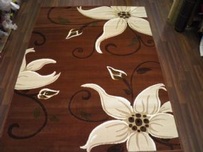 Modern Approx 7x5 150x210cm Woven Lily Design Rugs Sale Top Quality Brown/Beiges
